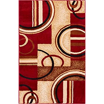 Amazon Com Well Woven Barclay Arcs Amp Shapes Red Modern