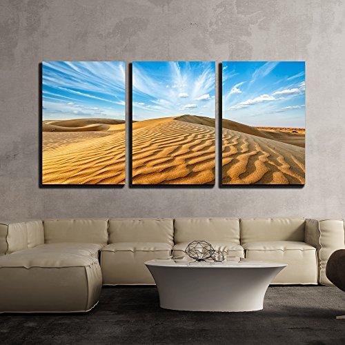 Landscape Panorama (wall26 - 3 Piece Canvas Wall Art - Panorama of Dunes of Thar Desert. Sam Sand Dunes, Rajasthan, India - Modern Home Decor Stretched and Framed Ready to Hang - 16