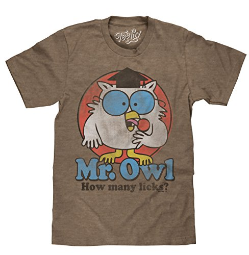 (Mr. Owl How Many Licks? Licensed T-Shirt-Medium Brown Heather)