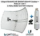 Ubiquiti BulletM2-HP BM2HP 600mW Outdoor + POE-24 12W + 2.4GHz 20dB Grid Antenna