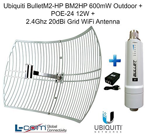 Ubiquiti BulletM2-HP BM2HP 600mW Outdoor + POE-24 12W + 2.4GHz 20dB Grid Antenna by Ubiquiti Networks