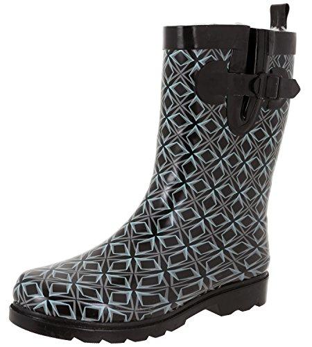 - Capelli New York Ladies Geo Graphic Diamonds Printed Mid-Calf Rain Boot Black Combo 9