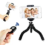 Phone Octopus Tripod Stand - Samgg Flexible Mount Holder with Bluetooth Remote Shutter for iPhone / Samsung Galaxy / Gopro / Digital Camera and All Cellphone