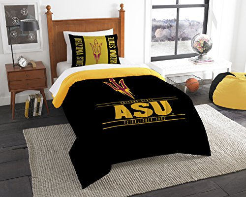 The Northwest Company Officially Licensed NCAA Arizona State Sun Devils Modern Take Twin Comforter and Sham