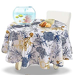 YEMYHOM 100% Polyester Spillproof Tablecloths for Round Tables 60 Inch, Modern Printed Indoor Outdoor Camping Picnic Circle Table Cloth (Blue Tree)