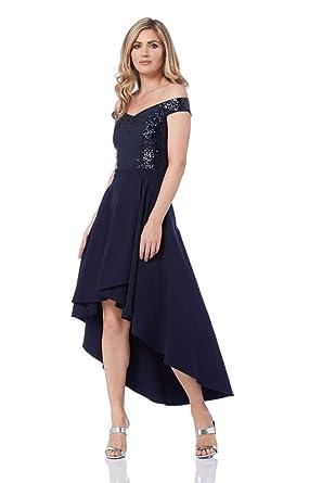 3ddee772275 Roman Originals Femme Robe Bardot Sequins Brillant Strass Ourlet Plongeant  - Ceremonie Soirée Gala Cocktail Elegant Soiree Mariage - Bleu - Marine -  Taille ...