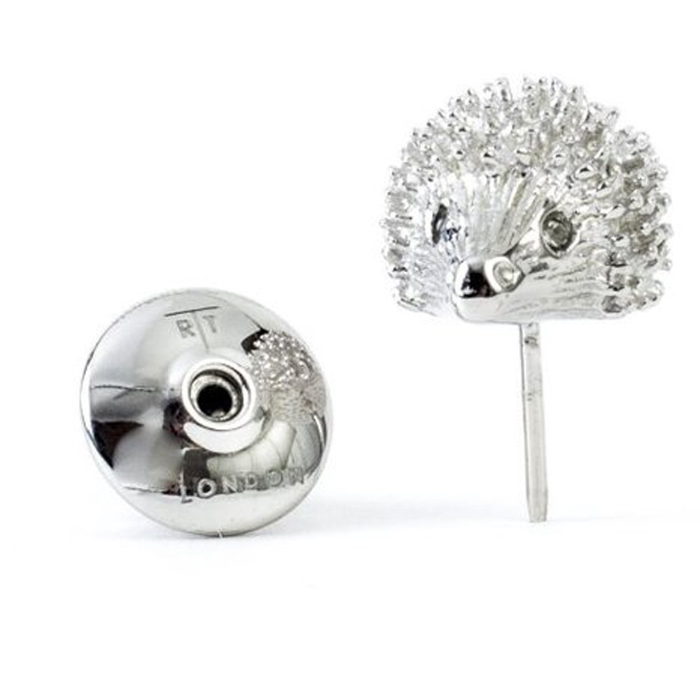 Tateossian Men's Rhodium Plated Red Swarovski Hedgehog Tie Pin by Tateossian
