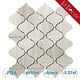White Oak Arabesque Lantern Honed Gray Marble Mosaic Tiles for Kitchen Bathroom Shower Counter Wall Floor Backspalsh Tiles by Li Decor