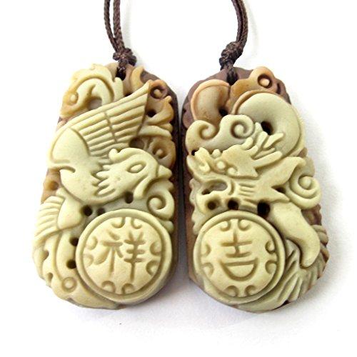 Green Purple Natural Stone Dragon Phoenix Pair Amulet Pendant