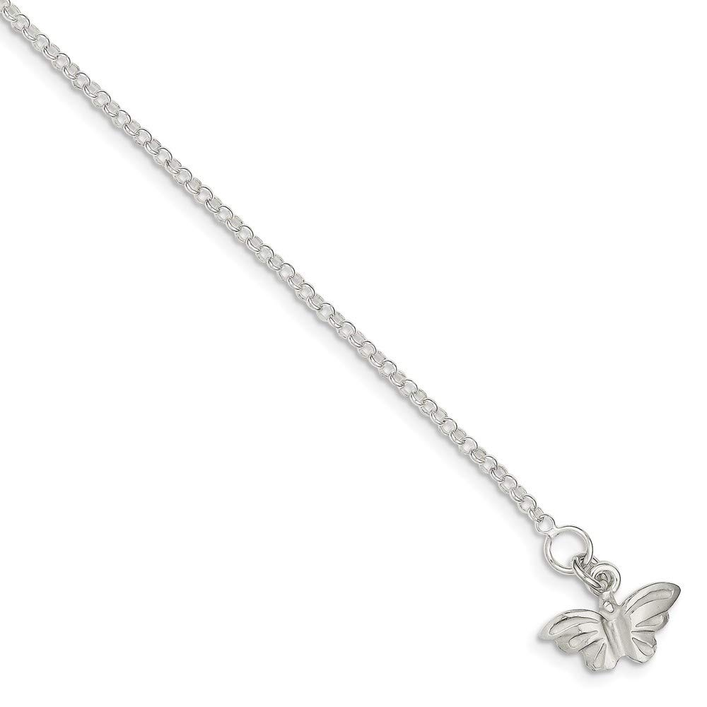 Length Options 10 9 Spring Ring 925 Sterling Silver Solid Polished Flat back Butterfly Anklet