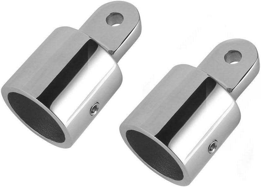 Jingyi 32mm Bimini Top Caps Tube, Eye End Top Fitting Marine 316 Stainless Steel Bimini Canopy Hardware, 2PC