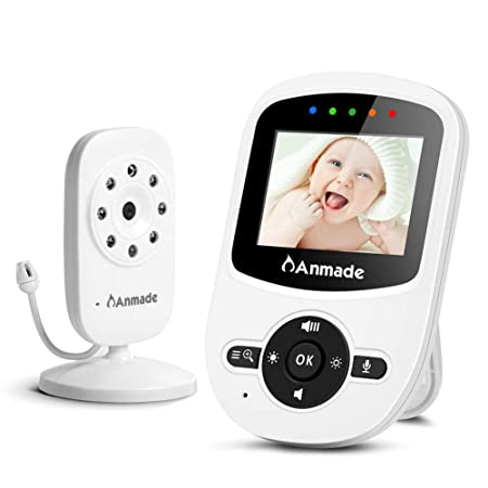 Video Baby Monitor with Camera and Audio,Anmade Baby Monitor with Night Vision,Support Multi Camera,Temperature Sensor,Built-in Lullabies,Two Way Talk Back,ECO Mode,2.4