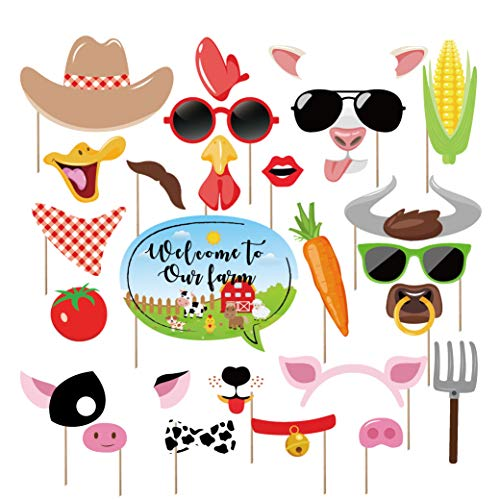 Kristin Paradise 25Pcs Farm Animal Photo Booth Props with Stick, Barnyard Selfie Props, Barn Yard Party Supplie, Petting Zoo Farmhouse Birthday Theme Backdrop Decorations, First 1st Bday Baby Shower -