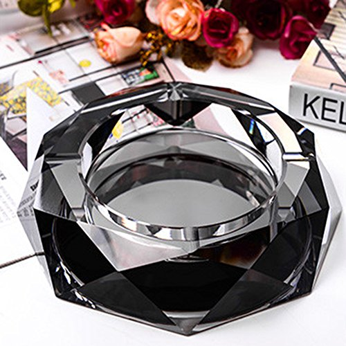 Max&Mix Crystal Ashtray,Cigar Ashtray European Living Room Ash Tray Holder Cigarettes Decor Tray for Home Office Tabletop Decoration,Gift Ashtray,Smoker,Father's Day Gift,Black by Mixmax