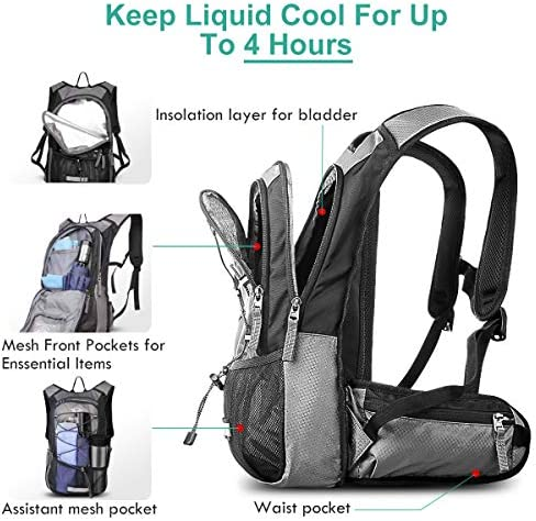 Mothybot Insulated Hydration Backpack Pack with 2L BPA Free Waterproof Bladder Hiking Backpack with Storage for Kids, Men Women- Keep Liquid Cool up to 5 Hours – for Running,Cycling,Camping,Outdoors