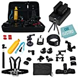 CDE© Complete Kit for GoPro Hero4 Black or silver: 2 Batteries - Charger + 30pcs accessories Kit. Outdoors Bundle for Hero 4: 2 batteries +Charger +Head & Chest Straps +Grip +Tripod +Suction Cup &More