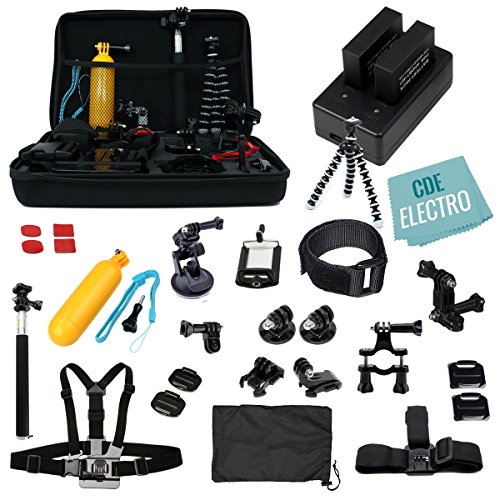 CDE© Complete Kit for GoPro Hero4 Black or silver: 2 Batteries, Charger + 30pcs accessories Kit. Outdoors Bundle for Hero 4: 2 batteries +Charger +Head & Chest Straps +Grip +Tripod +Suction Cup &More