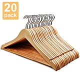 HOUSE DAY Wooden Hanger 20 Pack Wooden Suit Hangers Wooden Clothes Hanger Natural Smooth Finish Premium Wood Hangers for Clothes Pants Jeans