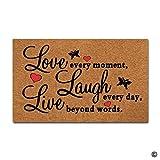 BLINY Door Mat Entrance Mat Live Every Moment Laugh Everyday Love Beyond Words Floor Mat Home Decorative Indoor Outdoor Doormat Non-woven Fabric Top 30''x18''