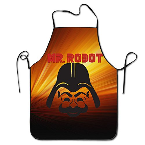 Kakakaoo Geek Robot Custom Sew Apron For Laundry Black Size