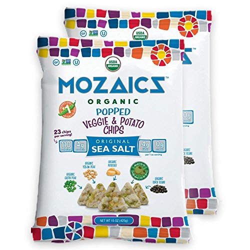 (Mozaics Sea Salt Organic Popped Veggie Chips- Under 100 Calories, Gluten Free Healthy Snack - Healthier than veggie straws or stix - 15oz Mega Bags (Sea Salt,)