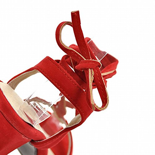Mee Shoes Damen Chunky Heels Open Toe Nubukleder Sandalen Rot