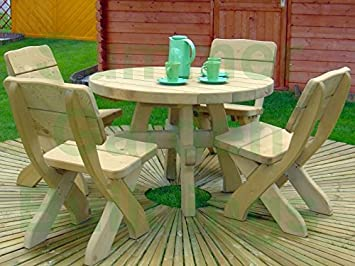 Chunky Wooden Garden Furniture Suite Pressure Treated 1 Bench 2