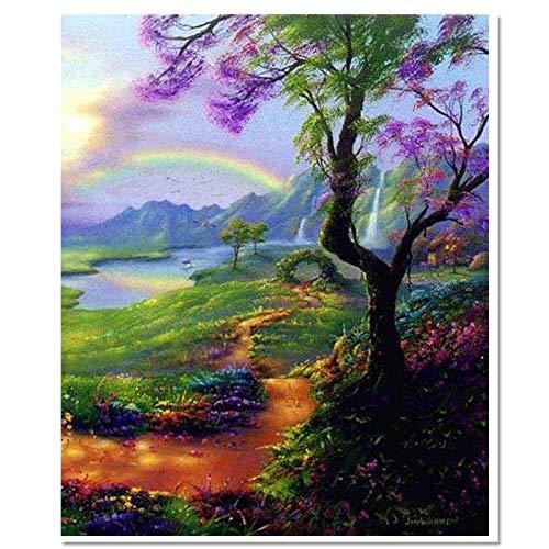 GMYANZSH Scenic Painting Diamond Embroidery Square Resin Handmade Base Fabric Modern Decoration ()