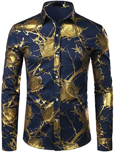 ZEROYAA Men's 3D Gold Rose Design Slim Fit Long Sleeve Floral Print Dress Shirts/Prom Performing Shirts ZZCL15 Navy Blue Medium