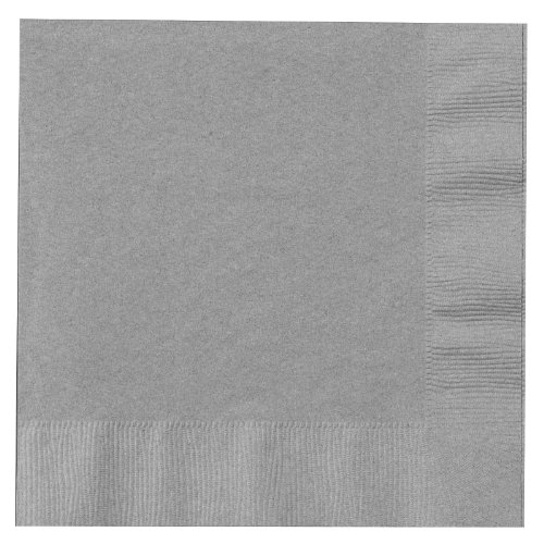 Creative Converting Touch of Color 2-Ply 50 Count Paper Lunch Napkins, Shimmering Silver
