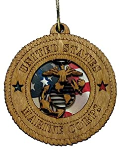 USMC - Marine Corps Laser Cut Military Ornament with American flag background