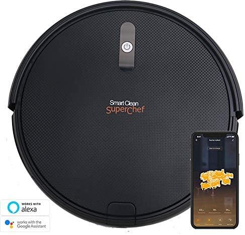 SuperChef Robot Aspirateur SF423 SmartClean WiFi, App, Compatible avec Alexa et Google Home, Navigation Intelligente Gyroscopique