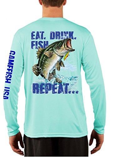 UPF 50 Long Sleeve Performance Fishing Shirt Eat Drink Fish Repeat Bass Medium Mint