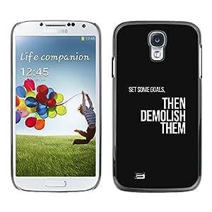 TECHCASE**Cubierta de la caja de protección la piel dura para el ** Samsung Galaxy S4 I9500 ** Goals Motivations Insignia Text Black