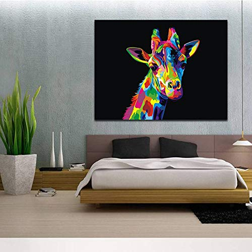 BFY Unframed Modern Abstract Oil Painting Watercolor Giraffe Huge Wall Decor Art On Canvas by BFY (Image #4)