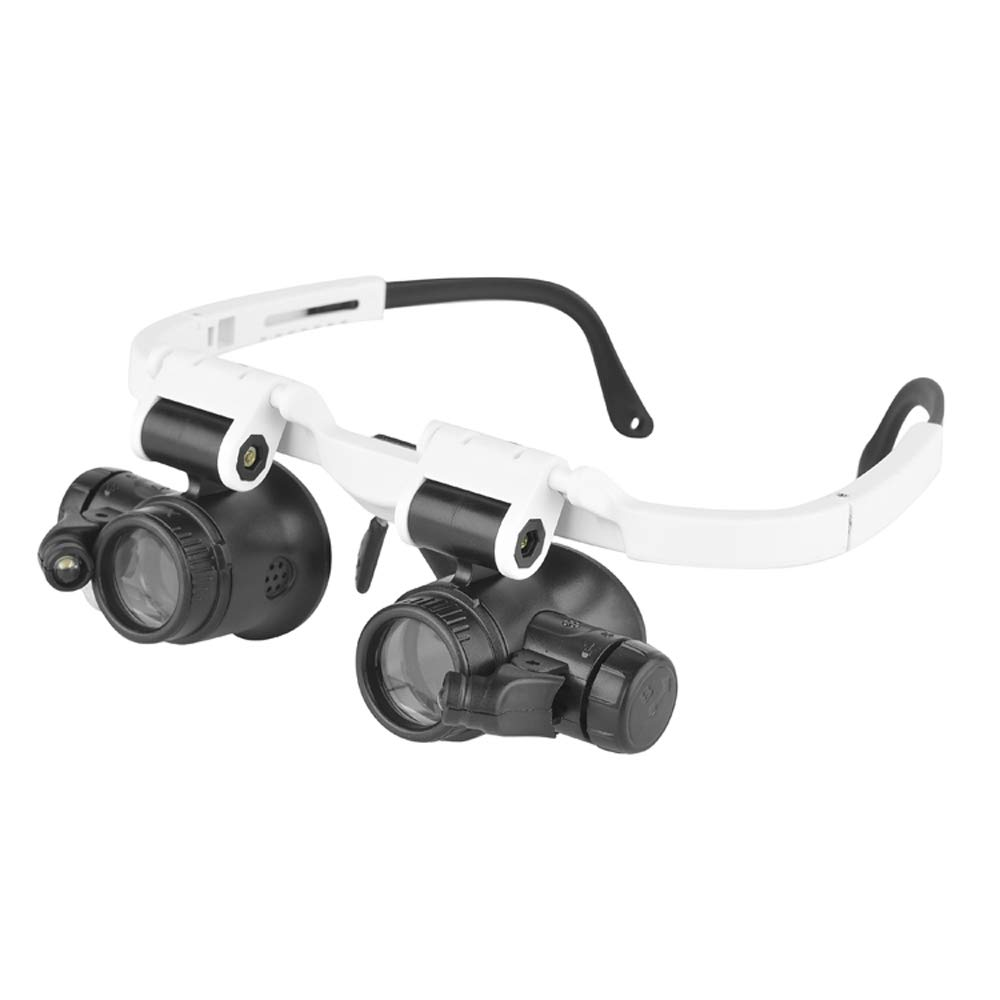 23X 9892H-1 KKmoon Led Light Lampada Double Eye Glasses Lente di Ingrandimento Orologio Gioielliere Misura di Riparazione Lente di Ingrandimento 8X 15X
