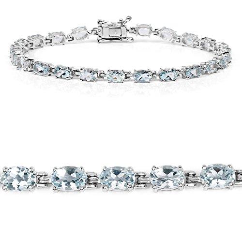 8.80 Carat Genuine Aquamarine .925 Sterling Silver Bracelet by Johareez