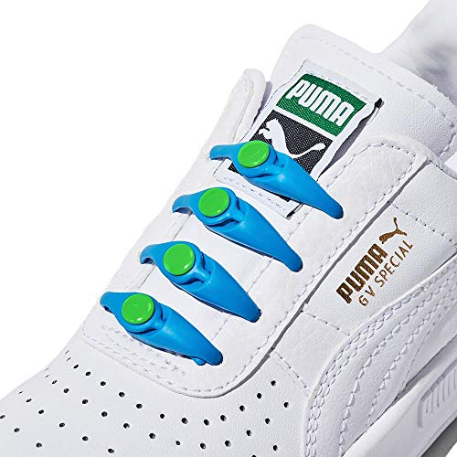 HICKIES Kids No Tie Elastic Shoelaces - Blue and Lime (Pack Of 10 HICKIES Laces, Works In All Sneakers)