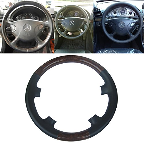 Mercedes Wood Leather Steering Wheel (Black Leather Brown Wood Steering Wheel Protector Cover Cap for Mercedes Benz 2002-2005 W211 E Class E200 E270 E300 E320 E400 E500)