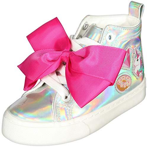 JoJo Siwa Girls High Top Fashion Sneakers, Iridescent Silver (Little Kid/Big Kid)