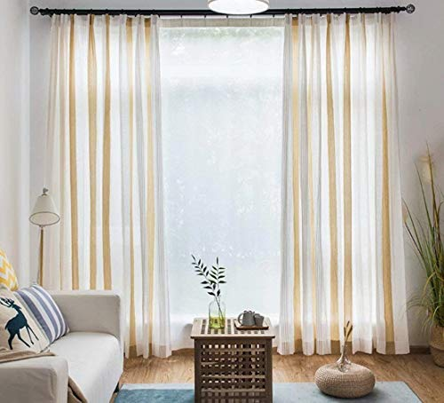 (Leadtimes Striped Sheer Curtains Linen Cotton Decorative Semi Sheer Window Curtain Panels for Bedroom Living Room 2 Pieces Grommet Top Window Treatment (Yellow, 72