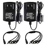 ANVISION 2-Pack AC to DC 12V 2A 2000mA Power Supply Adapter with 1 to 4 Splitter Cable 5.5×2.1mm For Led Light Strips NVR DVR Camera, Efficiency Level VI, UL Listed FCC RoHS For Sale