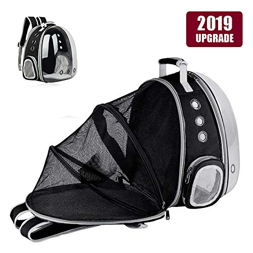 Hamkaw Expandable Pet Bubble Backpack, [2019 Newest] Foldable Transparent Panoramic Cat Carrier with 9 Venting Hole Breathable Portable Pet Carrier Backpack Travel Space Capsule for Cat Dog