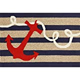 Liora Manne FTP12140033 Front Porch Whimsy Coastal Ship Ahoy Anchor Nautical Compass Sailor Indoor/Outdoor Scatter Throw Rug 20' X 30' Navy and Ivory