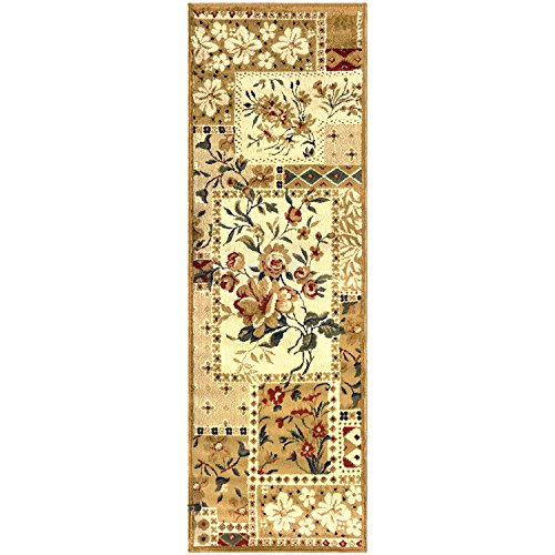 Blue Nile Mills Flower Patch Collection Rug Runner, Beautiful Floral Patchwork Design, 10mm Pile Height with Jute Backing - 2.6' x 8' Rug, Multi -Color ()
