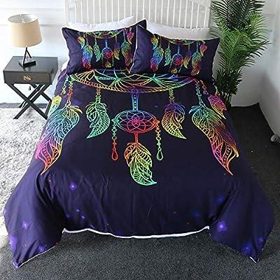 Erosebridal Dreamcatcher Bedspread Twin,Butterfly Feather Coverlet Set Bohemian Mandala Printed Bedding Set Kids Girly Women Purple Star Galaxy Bed Cover Set,Soft Breathable Room Decor