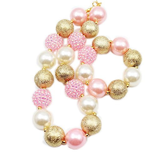 - Artvine Pink Gold Chunky Bubblegm Kids Necklace&Bracelet Girls Cake Smash 1st Birthday Gift CB801