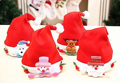 4pcs Christmas Santa Hat,Children's Flannel Christmas Cartoon Hat Kids Santa Claus' Cap Xmas Hat by Alimitopia (Style (Build A Bear Halloween Party)