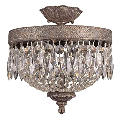 Trans Globe Lighting 8392 Crystal Two Light Semi Flush Ceiling Fixture from the,