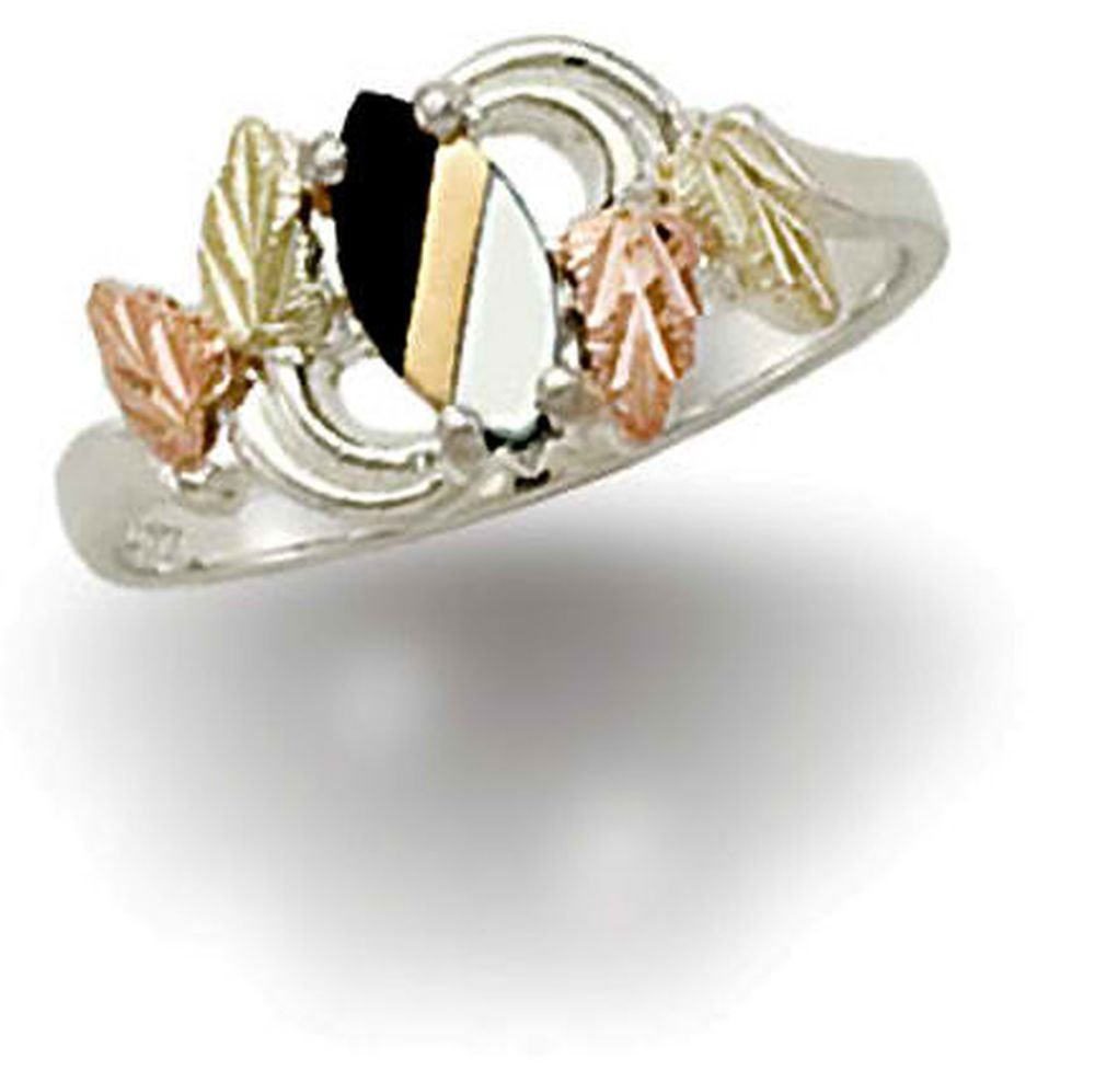 Landstroms Ladies Black Hills Silver Onyx and Natural Mother of Pearl Ring- LR2436SS-449
